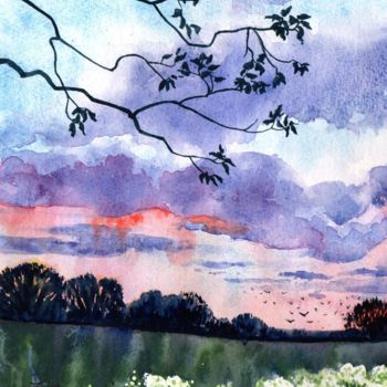 """Painting titled """"Summer Evening"""" by Zoe Norman, Original Art, Watercolor"""