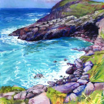 """Painting titled """"Cove at Tintagel"""" by Zoe Norman, Original Art, Pastel"""