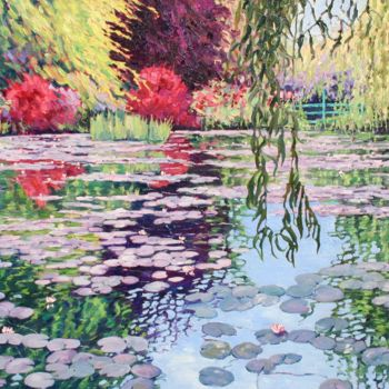 """Painting titled """"Monet's Garden"""" by Zoe Norman, Original Art, Oil Mounted on Stretcher frame"""