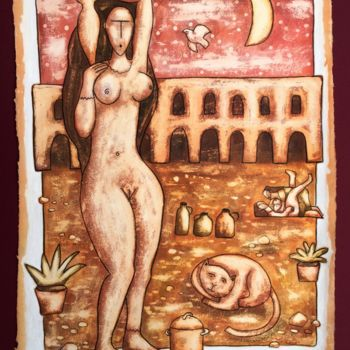 """Painting titled """"The Woman"""" by Zsolt Malasits, Original Art, Oil"""