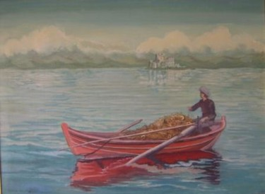 """Painting titled """"Fisherman scene in…"""" by -448, Original Art, Oil"""