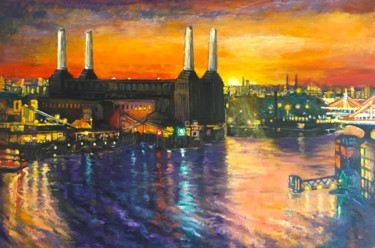 """Painting titled """"Battersea Power Sta…"""" by Patricia Clements Art, Original Art, Oil Mounted on Stretcher frame"""