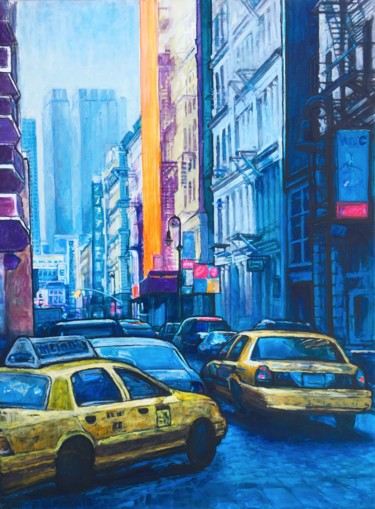 """Painting titled """"Greenwich Village M…"""" by Patricia Clements Art, Original Art, Oil Mounted on Stretcher frame"""