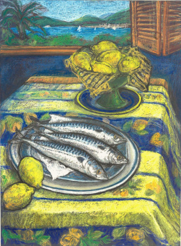 """Drawing titled """"Three fish with a v…"""" by Patricia Clements Art, Original Art, Pastel Mounted on Cardboard"""