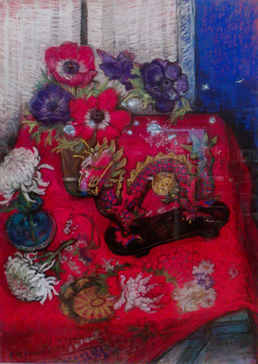 """Painting titled """"Still life with a C…"""" by Patricia Clements Art, Original Art, Pastel Mounted on Cardboard"""