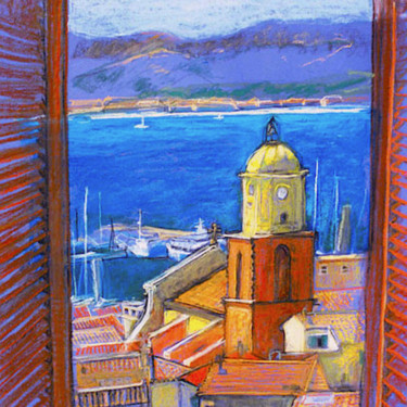 """Painting titled """"St Tropez from the…"""" by Patricia Clements Art, Original Art, Pastel Mounted on Cardboard"""