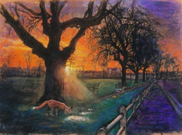 """Painting titled """"Sunset Fox on the G…"""" by Patricia Clements Art, Original Art, Pastel"""