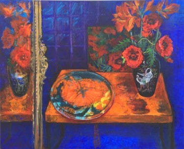 """Painting titled """"Still life of poppi…"""" by Patricia Clements Art, Original Art, Oil Mounted on Stretcher frame"""
