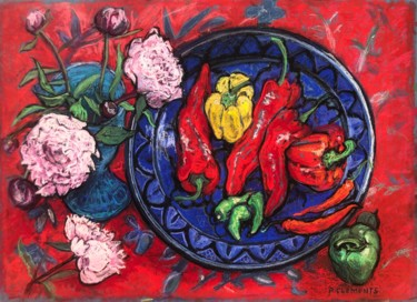 """Drawing titled """"Peony and Peppers s…"""" by Patricia Clements Art, Original Art, Pastel Mounted on Cardboard"""