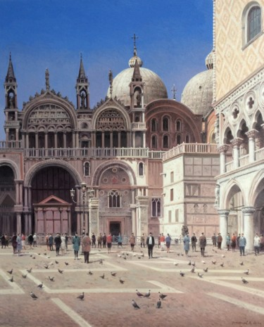 """Painting titled """"Cathedral of St. Ma…"""" by Vasily Gribennikov, Original Art, Oil Mounted on Stretcher frame"""