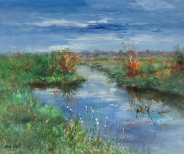 """Painting titled """"Brook"""" by Field Lynn, Original Art, Oil Mounted on Stretcher frame"""