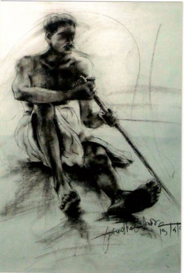 """Drawing titled """"indian male model"""" by Aaron Thokchom, Original Art,"""