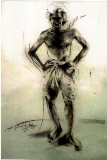 """Drawing titled """"man poses with turb…"""" by Aaron Thokchom, Original Art,"""