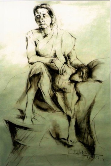 """Drawing titled """"the old Indian model"""" by Aaron Thokchom, Original Art,"""