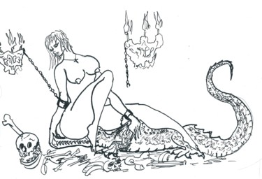 """Drawing titled """"the captive and the…"""" by Dmitriy Abelyashev, Original Art, Ink"""