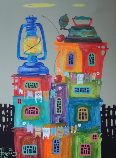 """Painting titled """"Childhood dreams-37…"""" by Abgar Khachatryan, Original Art, Oil Mounted on Stretcher frame"""