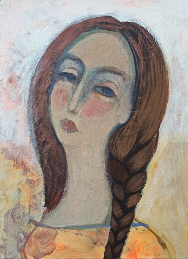 """Painting titled """"Girl portrait (30x4…"""" by Abgar Khachatryan, Original Art, Oil Mounted on Stretcher frame"""