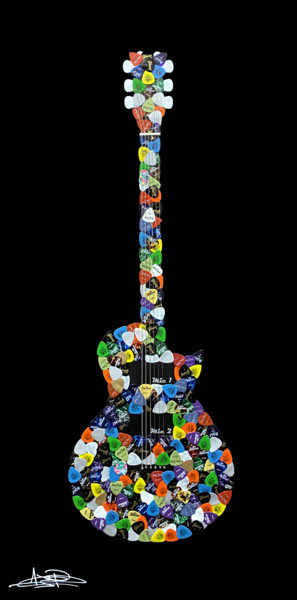 """Collages titled """"Guitar"""" by Arnaud Bertrand Soldera Paganelli (Absp.Off), Original Art, Collages"""