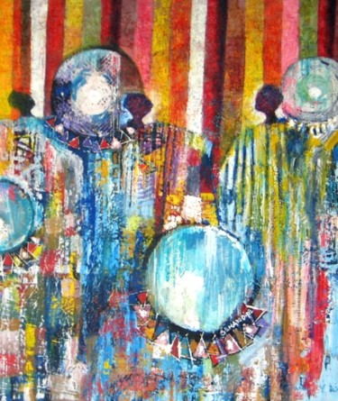 """Painting titled """"Drummers"""" by Benedict Adedipe, Original Art, Oil"""