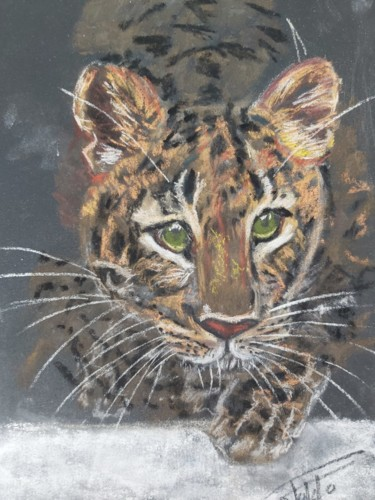"""Painting titled """"Sweet baby panther"""" by Adel Fahmi, Original Art, Pastel"""