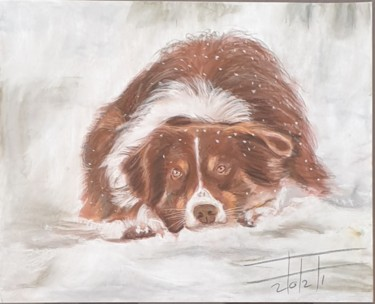 """Painting titled """"Dog in the snow"""" by Adel Fahmi, Original Art, Pastel"""