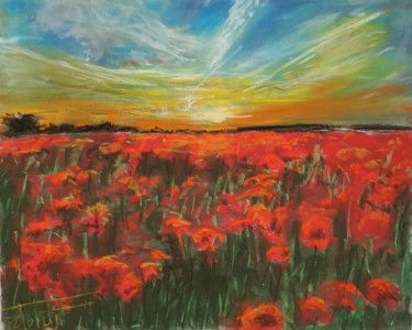 """Painting titled """"Sunset on poppies f…"""" by Adel Fahmi, Original Art, Pastel"""