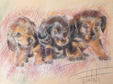 """Painting titled """"The three stooges"""" by Adel Fahmi, Original Art, Pastel"""