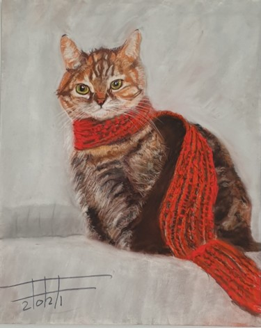 """Painting titled """"Cat with red scarf"""" by Adel Fahmi, Original Art, Pastel"""