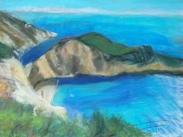 """Painting titled """"White cliffs on the…"""" by Adel Fahmi, Original Art, Pastel"""