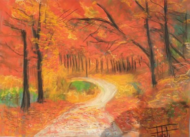 """Painting titled """"A path in the forest"""" by Adel Fahmi, Original Art, Pastel"""