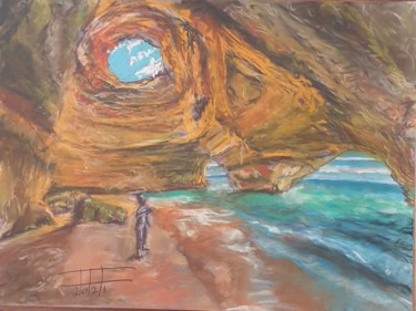 """Painting titled """"Man in the cave"""" by Adel Fahmi, Original Art, Pastel"""