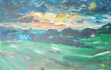 """Painting titled """"Hills on the countr…"""" by Adel Fahmi, Original Art, Acrylic"""