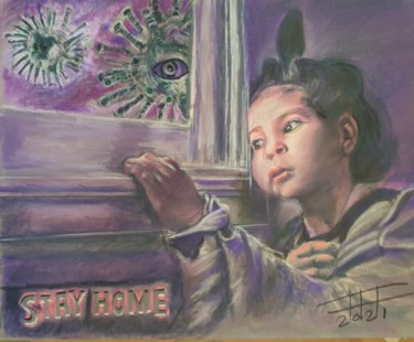 """Painting titled """"Stay home"""" by Adel Fahmi, Original Art, Pastel"""