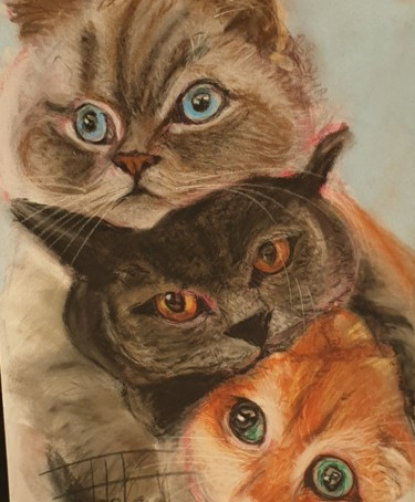 """Painting titled """"3 for the price of…"""" by Adel Fahmi, Original Art, Pastel"""