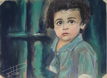 """Painting titled """"Boy with curly hair"""" by Adel Fahmi, Original Art, Pastel"""