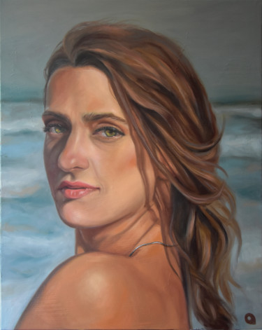 """Painting titled """"Sea in her eyes"""" by Adelacreative, Original Art, Oil Mounted on Stretcher frame"""