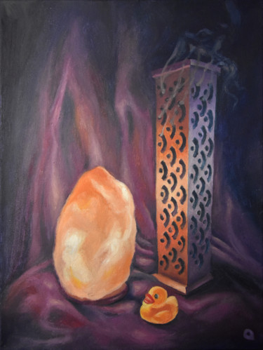 """Painting titled """"Lamp, Duck and Ince…"""" by Adelacreative, Original Art, Oil Mounted on Stretcher frame"""