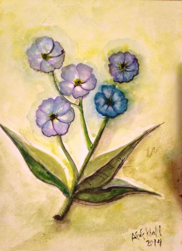 """Painting titled """"Purple Flowers"""" by Afaf, Original Art, Watercolor"""