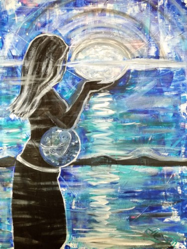 """Painting titled """"birth of earth"""" by Elle Sun, Original Art, Acrylic Mounted on Stretcher frame"""
