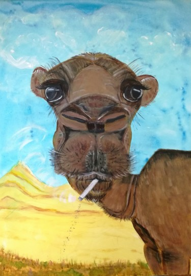 """Painting titled """"Camel"""" by Elle Sun, Original Art, Acrylic Mounted on Stretcher frame"""