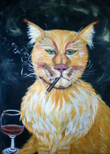 """Painting titled """"Smoky"""" by Elle Sun, Original Art, Acrylic Mounted on Stretcher frame"""