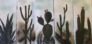 """Painting titled """"les Cactus"""" by Christine Daviles, Original Art, Acrylic Mounted on Stretcher frame"""
