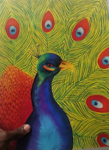 """Painting titled """"peacock Painting Wa…"""" by Agasthi Wijesinghe, Original Art, Watercolor"""