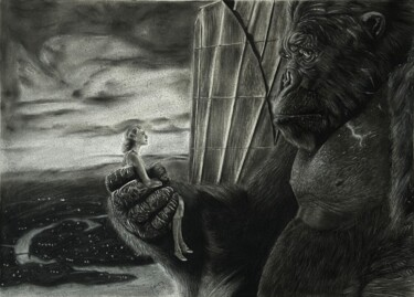 """Drawing titled """"Injured Monster 35…"""" by Ahmed Boutly, Original Art, Charcoal"""