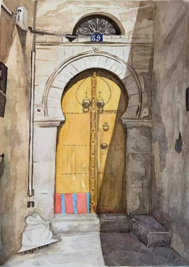 Architecture Painting, watercolor, oriental art, artwork by Raja Weslati