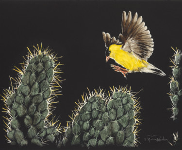 """Painting titled """"""""Gold On Gold"""""""" by Karen Nealon, Original Art, Scratchboard Mounted on Other rigid panel"""