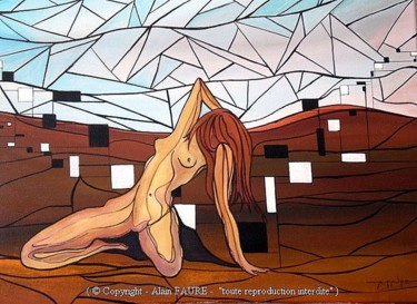 """Painting titled """"MUSE DE TERRE"""" by Alain Faure, Original Art, Acrylic Mounted on Stretcher frame"""