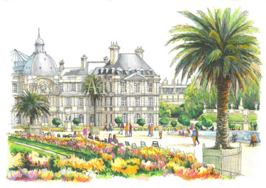 """Drawing titled """"Luxembourg Gardens"""" by Alexey Erofalov, Original Art, Marker"""
