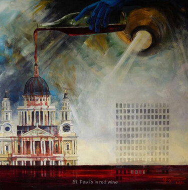 """Painting titled """"St.Paul's in red wi…"""" by Алекс Вознесенский, Original Art, Oil"""