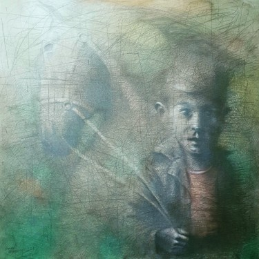 """Painting titled """"A boy with a horse"""" by Sasha Tsyganov, Original Art, Oil Mounted on Stretcher frame"""